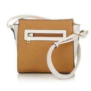 NEW RFID Camel/Wht Cross Body bag